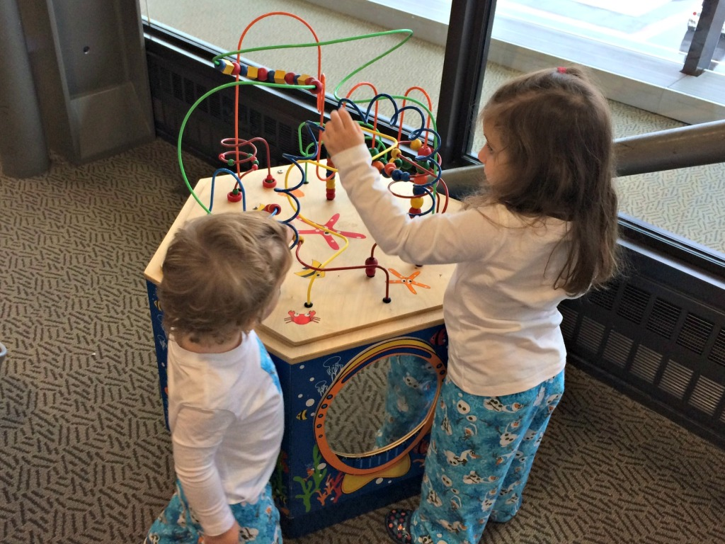 Playing so nicely together at the departure gate