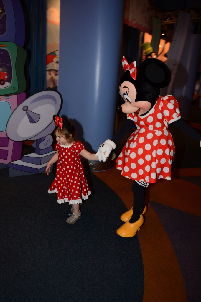 Going for a little stroll.  Minnie came right up to Maya and brought her to her area.  So cute