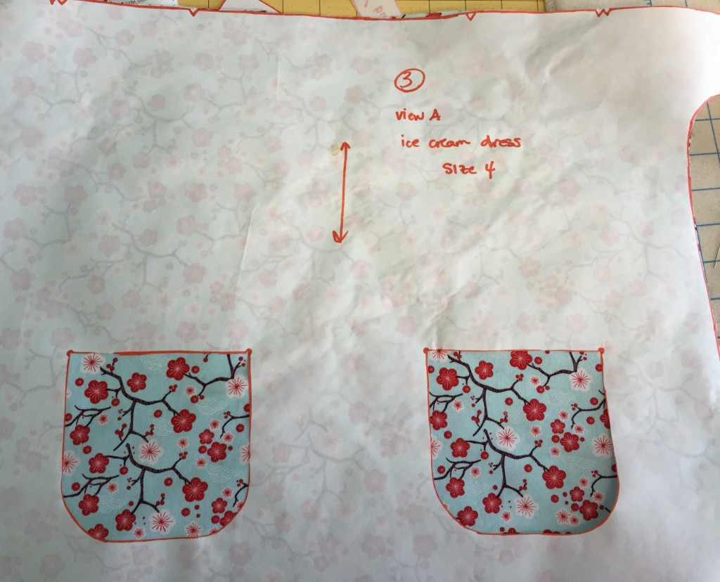 Step 1:  cut the pocket placement markings out on your freezer paper (or whatever you used to transfer your pattern to)