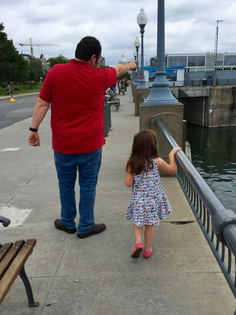 Maya and her daddy at the old Port in Montreal.