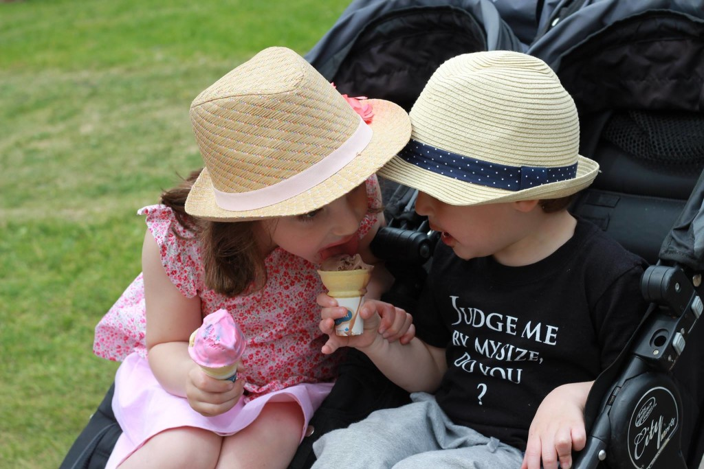 Sharing ice cream.